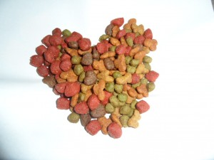 Dry dog food in the shape of a heart